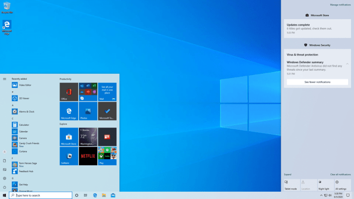 New start menu and new features coming in Windows 10
